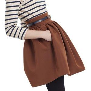 WHIT Faille high waist brown mini skirt